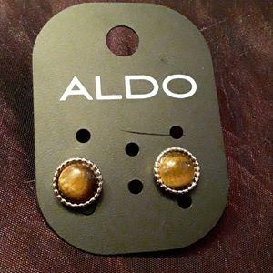 """""""Aldo"""" tigers eye gold tone earrings"""